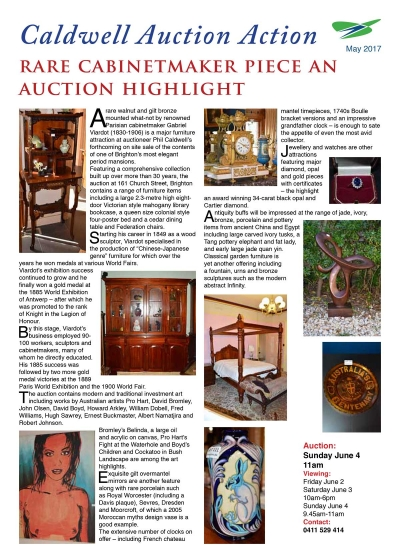 RARE CABINETMAKER PIECE AN AUCTION HIGHLIGHT - May 2017