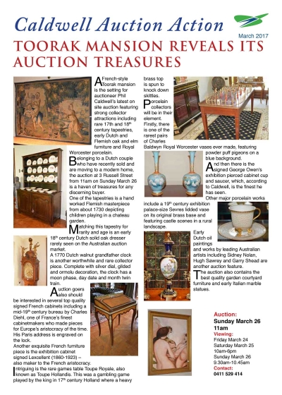 TOORAK MANSION REVEALS ITS AUCTION TREASURES - March 2017